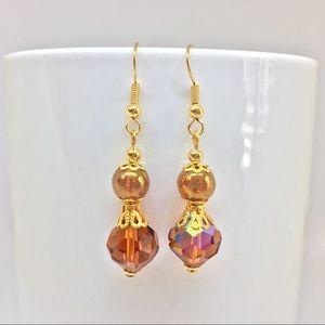 Jewelry - New Vintage Look Caramel Crystal Dangle Earrings